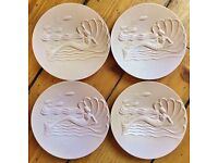 Set Four Art Deco Mermaid Plastic Plates British Made U.D.A. Plastics LTD Modern Stylists Series