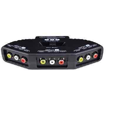 TriQuest 5450 3-in-1 Composite Audio/Video Selector Switch Box Black Retail
