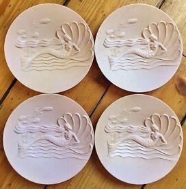 Set Four Art Deco Mermaid Plastic Plates British Made U.D.A. Plastics LTD Modern Stylists Series