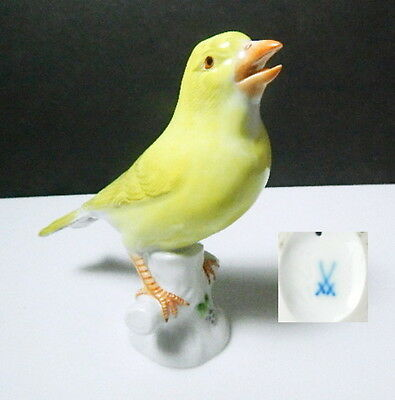 Meissen Porcelain Yellow Canary Bird Figurine, 1 st Quality Crossed Swords, MINT
