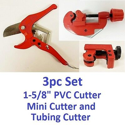 3pc Set Tubing Pipe PVC Hose Ratchet & Mini Cutter Plastic Brass Aluminum Tube  ()