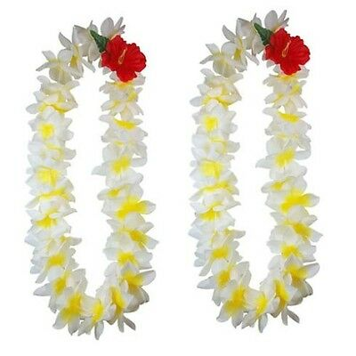 SIX Hawaiian Silk Flower Lei Luau Party Hula Wedding Necklace ~ QTY 6 LEIS