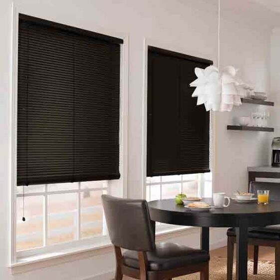 $11.97 - NEW Achim Home Furnishings Morning Star 1-Inch Vinyl Mini Blinds - Black