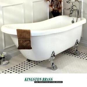 "NEW* KB 67"" CLAW FOOT SLIPPER TUB - 124925145 - KINGSTON BRASS 7"" DECK DRILLINGS SATIN NICKEL BATH BATHTUB TUBS FREES..."