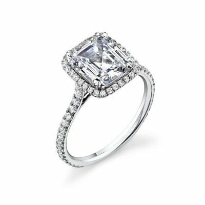 1.75 Ct Emerald Cut Diamond Halo Engagement Ring Round Accents H,VS2 GIA 14K WG 1