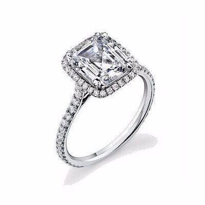 2.44Ct U-Set Halo Micro Pave Emerald Cut Diamond Engagement Ring 18K Gold GIA