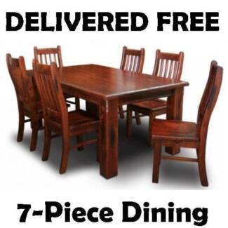 DELIVERED FREE 7-Piece CHUNKY Timber Dining Suite - BRAND NEW New Farm Brisbane North East Preview