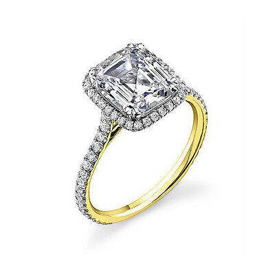 1.65 ct. Emerald Cut U-Setting Pave Diamond Engagement Ring GIA G, VVS2 NATURAL 1