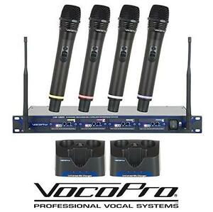 NEW VOCOPRO 4 CH MICROPHONE SYSTEM - 117909045 - PROFESSIONAL RECHARGABLE UHF WIRELESS