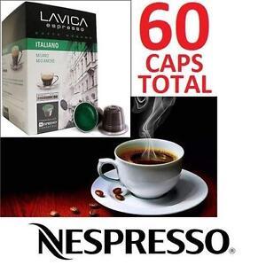 60 NEW LAVICA ESPRESSO CAPULES 2OZ ITALIANO - COMPATIBLE W/ NESPRESSO MACHINES 6 PACKS OF 10 CAPS EXP 06/2018  90161598