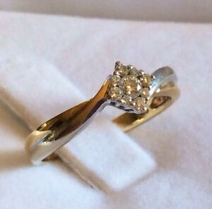 Solid 9K 375 Yellow + White Gold 0.12ct Diamond Cluster Ring, 6/M Parkwood Canning Area Preview