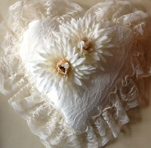 Heart Shaped Ring Bearer Pillow Ivory Satin Lace and Floral Design