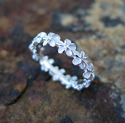 (5mm Hawaiian Plumeria Flower Lei Sterling Silver Ring Band Gift for Her E27)