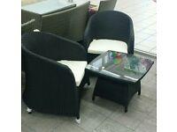 3 Piece Rattan Garden Furniture 2 Seats & Single Table
