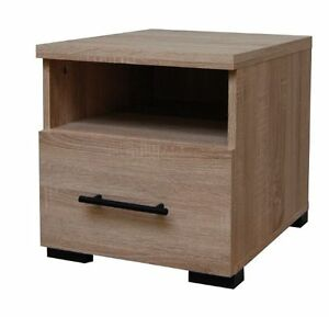 Inova Bedside Chest Lamp Table Storage Bedroom Furniture Drawers Oak Effect N