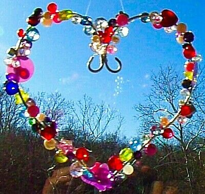 HEART SUNCATCHER-HEART, BUTTERFLY,STAR-CRYSTAL-HANDCRAFTED-3 DIMENSIONAL # 927