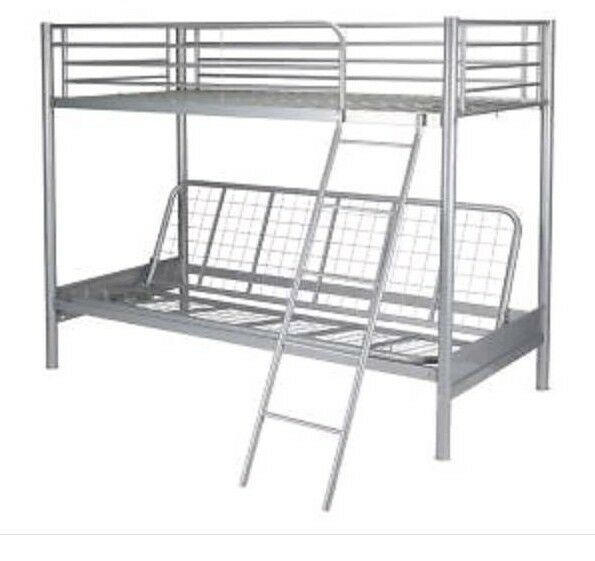 Childs High Sleeper Bunk With Double Futon Frame