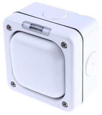 White 10 A Flush Mount Rocker Light Switch MK White 20 mm, 2 Way Screwed Matte,  ()
