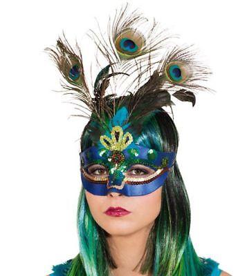 Orl - Paradiesvogel Pfau Halbmaske Maske zu Kostüm - Pfau Kostüm Maske