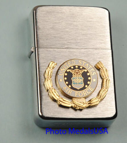 Air Force Crest Wreath WIND PROOF PREMIUM LIGHTER IN A GIFT BOX  USAF  BC049