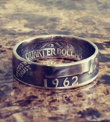 1958 Sizes 4   10  Silver Coin Ring  Year   In God We Trust  Liberty Shown