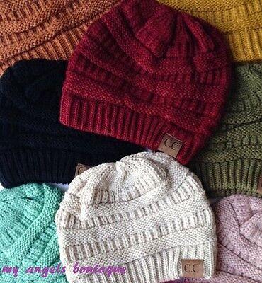 CC Beanie Unisex Hat Cap Knit Slouchy Thick  Genuine