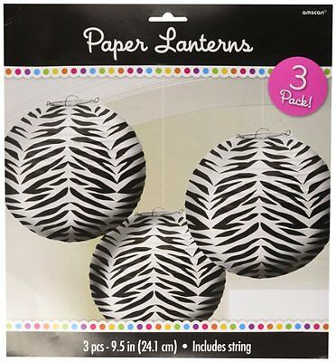 Zebra Stripes Animal Print Paper Lanterns (3count) New 268475 - Animal Print Paper Lanterns