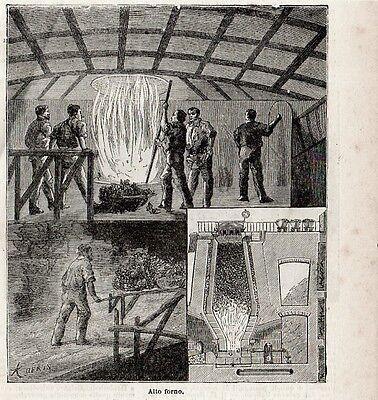 Stampa antica ALTO FORNO officina per la fusione del metallo 1897 Old Print