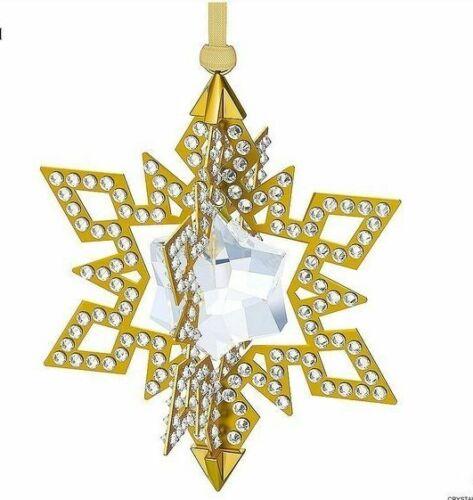 Swarovski Christmas Ornament Star, Gold tone MIB #5135809