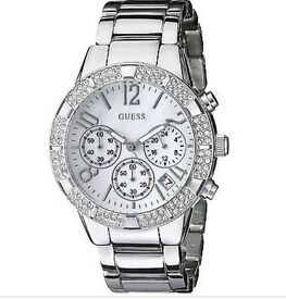 GUESS Chronograph Mother of Pearl Crystal Stainless Steel Ladies Watch U0141L1.