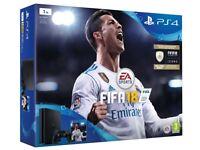 **SEALED** PS4 SLIM 1TB & FIFA 18 GAME BUNDLE & 14 DAY PSN BRAND NEW PLAYSTATION 4, 1 YEAR WARRANTY