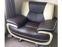 Faux leather 2 seater and armchair