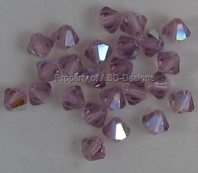 24 pcs Czech Beads 4mm Amethyst Crystal AB Bicone Fire Polished Glass Beads 2061