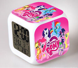 7 Color LED Night Light Alarm Clock My little pony Figures Watch Toy timer gifts