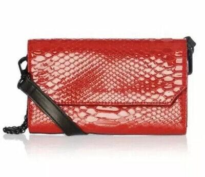 ❤️ Bay Belt Bag Clutch Red Kendall & Kylie Lacquer Crocodile Snake Print ❤️