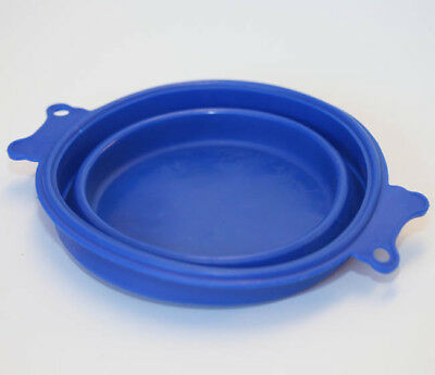 Pet Dog Cat Blue Silicone Collapsible Travel Feeding Drinking Water Bowl