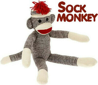 """Schylling Sock Monkey Classic Retro Brown Red Lips 20"""" Tall NEW!"""