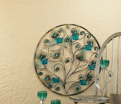 large teal blue turquoise Peacock feather wall sconce sculpture Candle holder - Peacock Candles
