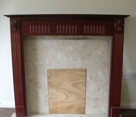 MAHOGANY EFFECT FIREPLACE SURROUND WITH MARBLE INSET