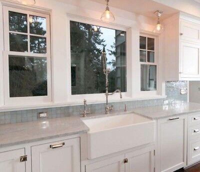 """30"""" White Farmhouse Single Bowl Apron Front Kitchen Sink Farm Sink Reversible"""
