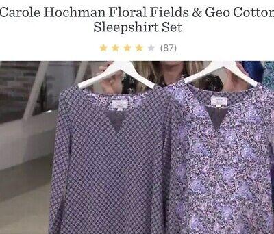 Carole Hochman S Floral Fields & Geo Cotton Sleepshirt Set Charcoal A293904