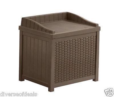 22 Gallon Mocha Resin Wicker Patio Storage Seat Lawn Garden Yard Deck Outdoors