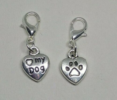 "5 or 20pc ""Heart Dog"" & Pawprint Zipper Pull/ Charm/ Pendant; Bulk Gifts; Favors"