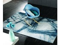 Graphic Crackle Blue Rug - 120 x 170