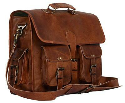 Vintage Bull Leather Tote Mens Briefcase Laptop 18
