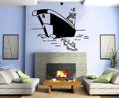 Cartoon Fishing Boat Marine Decor Kids Room Nursery Wall Mur