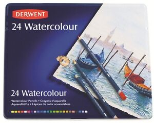 Derwent 24 Watercolour Pencils in Reusable Tin NEW - Watercolor