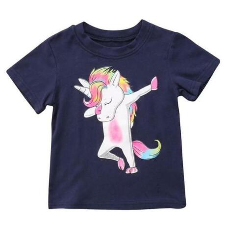 Girls Short Sleeve Dabbing Unicorn Graphic Print T-Shirt  - 100% Cotton