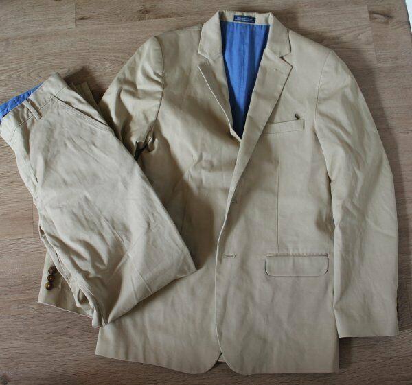 Izod Boys Chino Tan Pants Jacket/Blazer Suit Set EUC 18 Regular