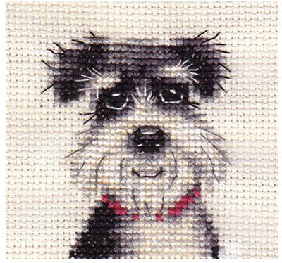 MINIATURE SCHNAUZER dog, puppy ~ Complete counted cross stitch kit
